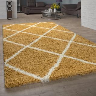 Teppich Wohnzimmer Hochflor Shaggy Skandi Design Mit Rauten Muster, Modern In Gelb