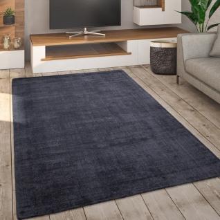 Teppich Wohnzimmer Kurzflor Handgewebt Modern Einfarbiges Muster Anthrazit Grau