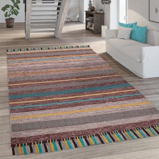 Teppich Wohnzimmer Moderne Streifen Optik Fransen Baumwolle Webteppich Grau Braun
