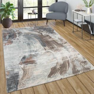 Teppich Wohnzimmer Vintage Kurzflor Abstraktes Muster Modern In Braun Grau