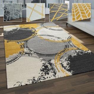 Wohnzimmer Teppich, Moderne Geometrische Muster In Grauen und Senfgelben Tönen