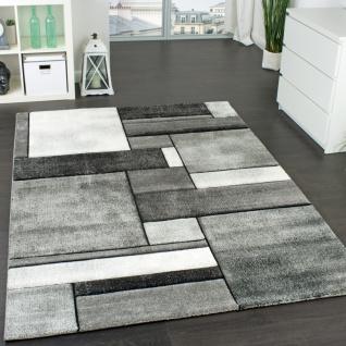 Designer Teppich Kariert Wohnzimmer Teppich Modern Trendig Meliert in Grau