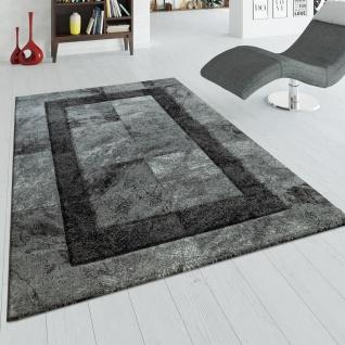 Teppich Grau Anthrazit Wohnzimmer Kurzflor 3-D Effekt Marmor Design Karo Muster