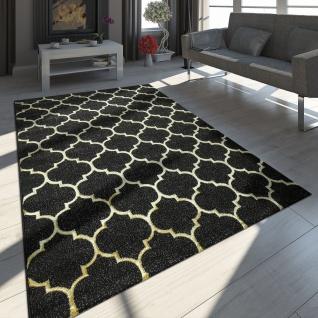 Orientteppich Modern 3D Effekt Marokkanisches Muster Schwarz Gold