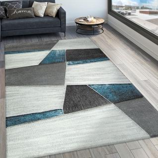 Designer Teppich Modern Konturenschnitt Geometrisches Muster Grau Türkis