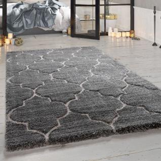 Hochflor-Teppich, Weicher Shaggy Für Wohnzimmer Mit Orient Design, In Grau