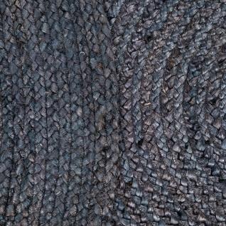 Teppich Rund Wohnzimmer Jute Boho Ethno Handgefertigter Natur-Teppich Grau - Vorschau 4