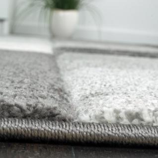 Designer Teppich Modern Handgearbeiteter Konturenschnitt Kariert Grau Weiß - Vorschau 2