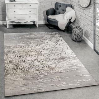 Designer Teppich Wohnzimmer mit Moderne Ornamente Muster Meliert Grau Beige