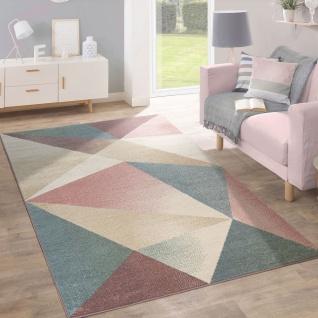 Teppich Wohnzimmer Kurzflor Modern Geometrisches Design In Pastell