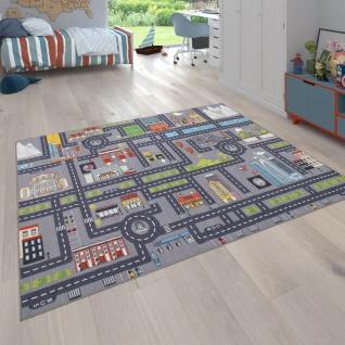Spielteppich Kinderteppich Kinderzimmer Straßenteppich Auto Straßen Motiv, Grau