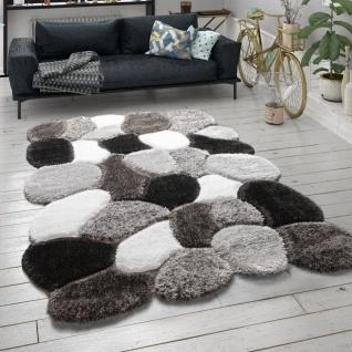 Hochflor Teppich Für Wohnzimmer Shaggy Cut-Out-Design 3-D-Muster Langflor Grau