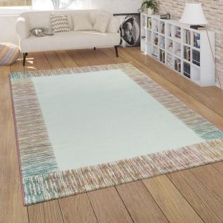 Teppich Wohnzimmer Modern In Weiß Rosa Bunt Pastell Kurzflor ...