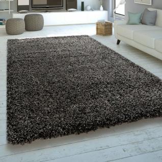 Moderner Hochflor Teppich Hochwertig Kuschelig Weicher Shaggy Meliert Braun Grau