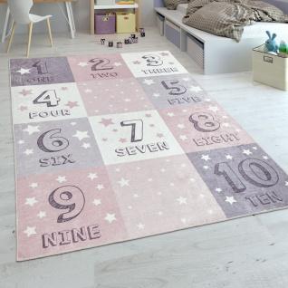 Kinderteppich, Spielteppich Für Kinderzimmer, Zahlen-Design Karo-Muster, In Rosa