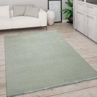 Teppich Wohnzimmer Kurzflor Mit Fransen 3D Effekt Weich Abstraktes Muster Grün Grau
