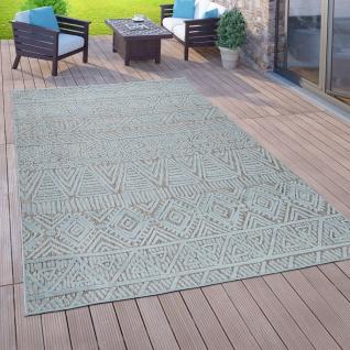 In- & Outdoor-Teppich Für Balkon Terrasse, Flachgewebe, 3-D Ethno-Look, In Türkis