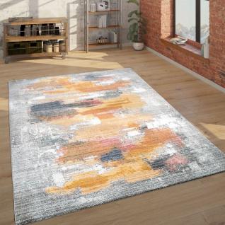 Teppich Wohnzimmer Kurzflor Mit Abstraktem Muster Modern, In Grau Gelb Rot