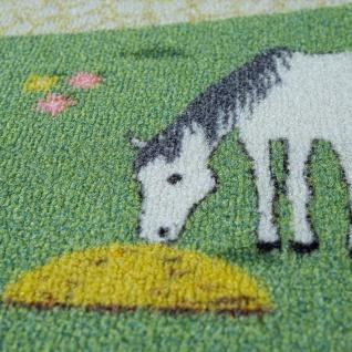 Kinder-Teppich, Spiel-Teppich Für Kinderzimmer, Landschaft und Pferde, In Grün - Vorschau 3