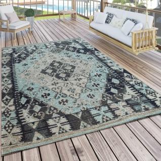 In- & Outdoor-Teppich Für Balkon U. Terrasse M. Orient-Design, Kariert In Blau
