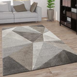 Teppich Wohnzimmer Kurzflor Geometrisches Muster Moderne 3D Optik Creme Beige