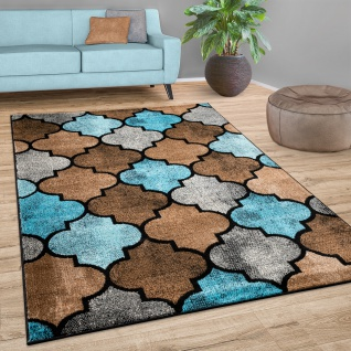 Teppich Wohnzimmer Marokkanisches Muster Kurzflor Modern In Braun Beige Blau