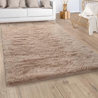 Hochflor Teppich Wohnzimmer Fellteppich Kunstfell Shaggy Flauschig Einfarbig Beige