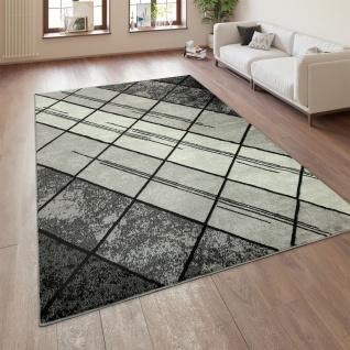 Designer Wohnzimmer Teppich Modern Kurzflor Geometrische Muster Schwarz Grau
