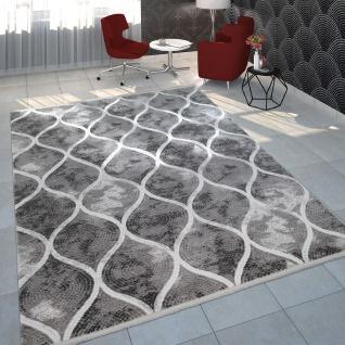 Teppich Wohnzimmer Polyacryl Kurzflor Vintage Orientalisches Mosaik Design Grau