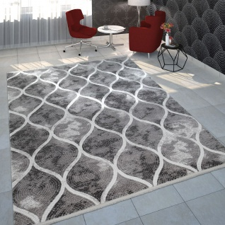 Wohnzimmer-Teppich Im Orientalischen Mosaik-Design, Vintage-Kurzflor In Grau