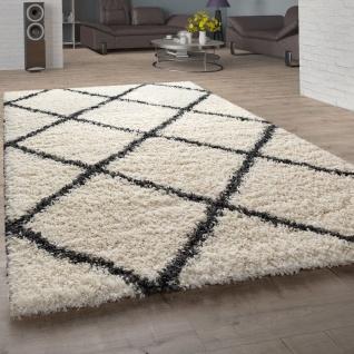 Hochflor-Teppich, Shaggy Für Wohnzimmer, Skandi-Stil U. Rauten-Design In Beige