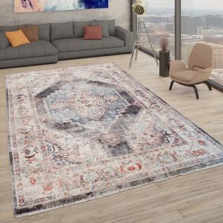 Teppich Mit Orientalischem Muster, Kurzflor-Teppich Für Wohnzimmer, In Grau