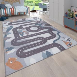 Kinder-Teppich, Spiel-Teppich Für Kinderzimmer Straßen-Design Mit Tieren Beige