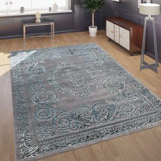 Designer Wohnzimmer Teppich 3D Optik Orientalisches Muster In Grau Türkis