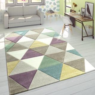 Designer Teppich Modern Konturenschnitt Pastellfarben Rauten Mehrfarbig