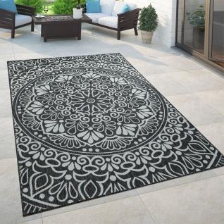 In- & Outdoor-Teppich, Für Balkon Und Terrasse Mit Orient-Muster, In Schwarz
