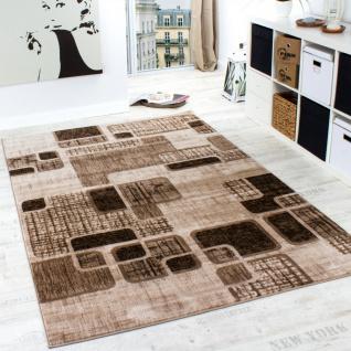 Designer Teppich Wohnzimmer Teppich Retro Muster in Braun Beige Preishammer
