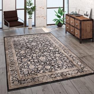 Teppich Wohnzimmer Kurzflor Orient Muster Bordüre Vintage Beige