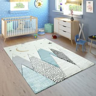 Kinderteppich Kinderzimmer Pastell Blau Grau Berg Mond Sterne Strapazierfähig