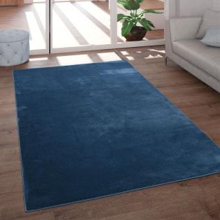 Teppich Wohnzimmer Kurzflor Modern Glanz Schimmer Effekt Weich Einfarbig Blau