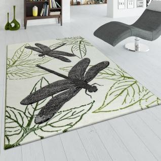 Wohnzimmer Teppich Grün Beige Kurzflor 3-D Effekt Libellen Design Blätter Muster