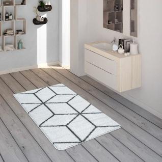 Badematte Mit Rauten-Muster, Kurzflor-Teppich Für Badezimmer In Anthrazit Weiß