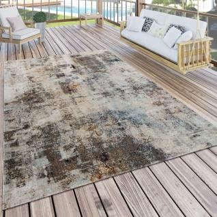 In- & Outdoor Teppich Küchenteppich Terrasse Vintage Pastell Abstrakt Grau Creme