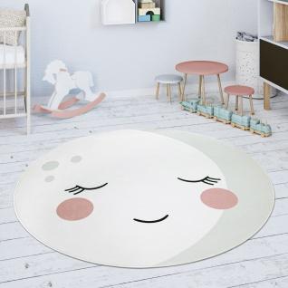 Kinderteppich Teppich Rund Kinderzimmer Spielmatte Mond Motiv Creme Weiß