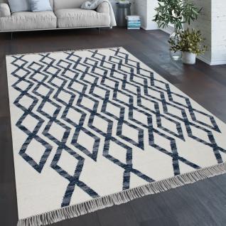 Teppich Wohnzimmer Boho Stil Fransen Handgewebt Woll-Baumwoll Gemisch Blau