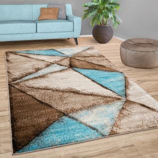 Teppich Wohnzimmer Geometrisches Muster Vintage Kurzflor Modern Blau Beige Braun