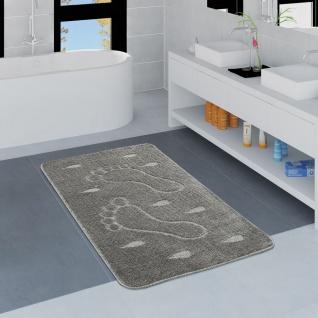 Moderner Badezimmer Teppich Rutschfest Badvorlerger Fußabdruck Einfarbig In Grau - Vorschau 1
