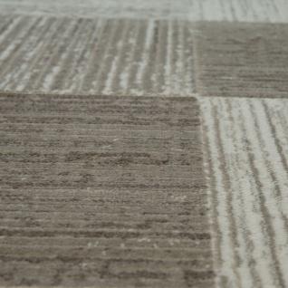 Moderner Heatset Designer Teppich Kurzflor Karo Design In Pastell Beige Creme - Vorschau 3