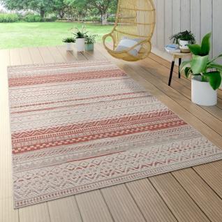 Outdoor Teppich Für Terrasse Und Balkon, Geometrisches Muster, Modern In Rot