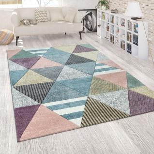 Teppich Bunt Wohnzimmer Pastellfarben Rauten Muster 3-D Design Fröhliches Design